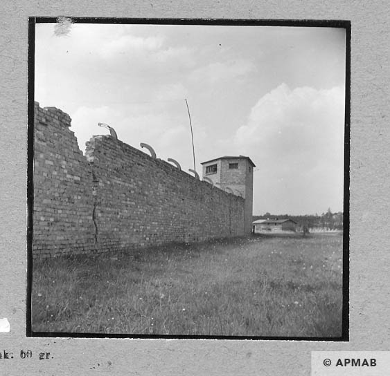 Fragment of wall from East side, in the bacgkground guard tower. 1963 APMAB 5696