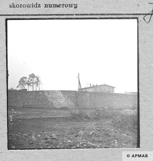 Fragment of wall surronded a camp. Above a wall high part of SS Truppe barrack. 1959 APMAB 6473