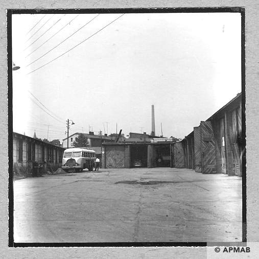 Garages built in place where was the unfinished barrack for prisoners. 1963 APMAB 4643