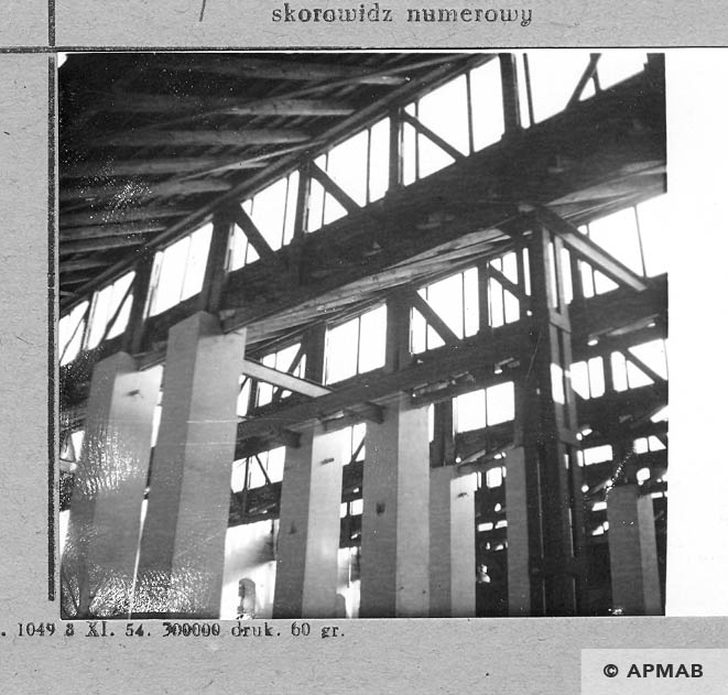 Glass roof of workshop where prisoners worked. 1966 APMAB 10177