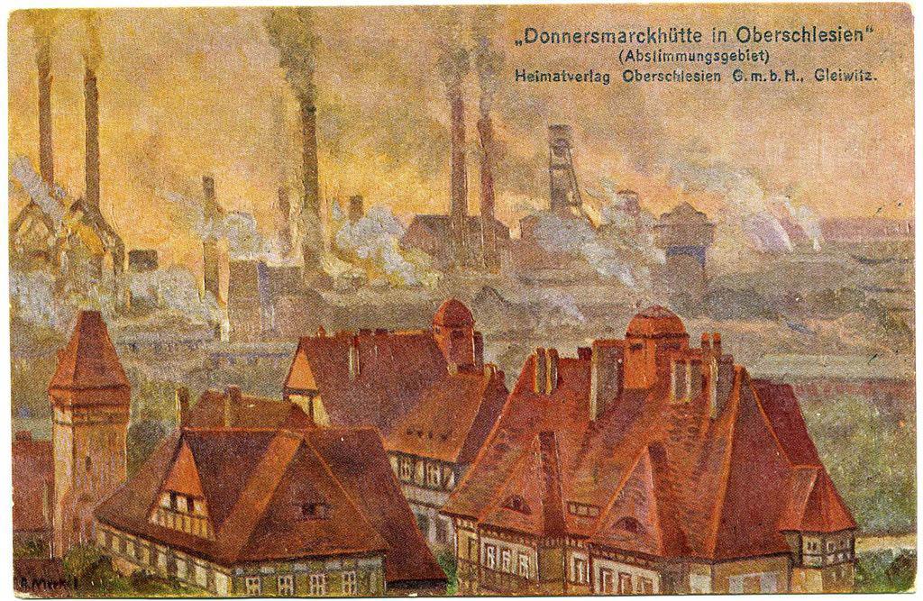 Hindenburg Donnersmarckhütte. Abstimmungsgeb Gemälde. Andreas Dutkiwicz