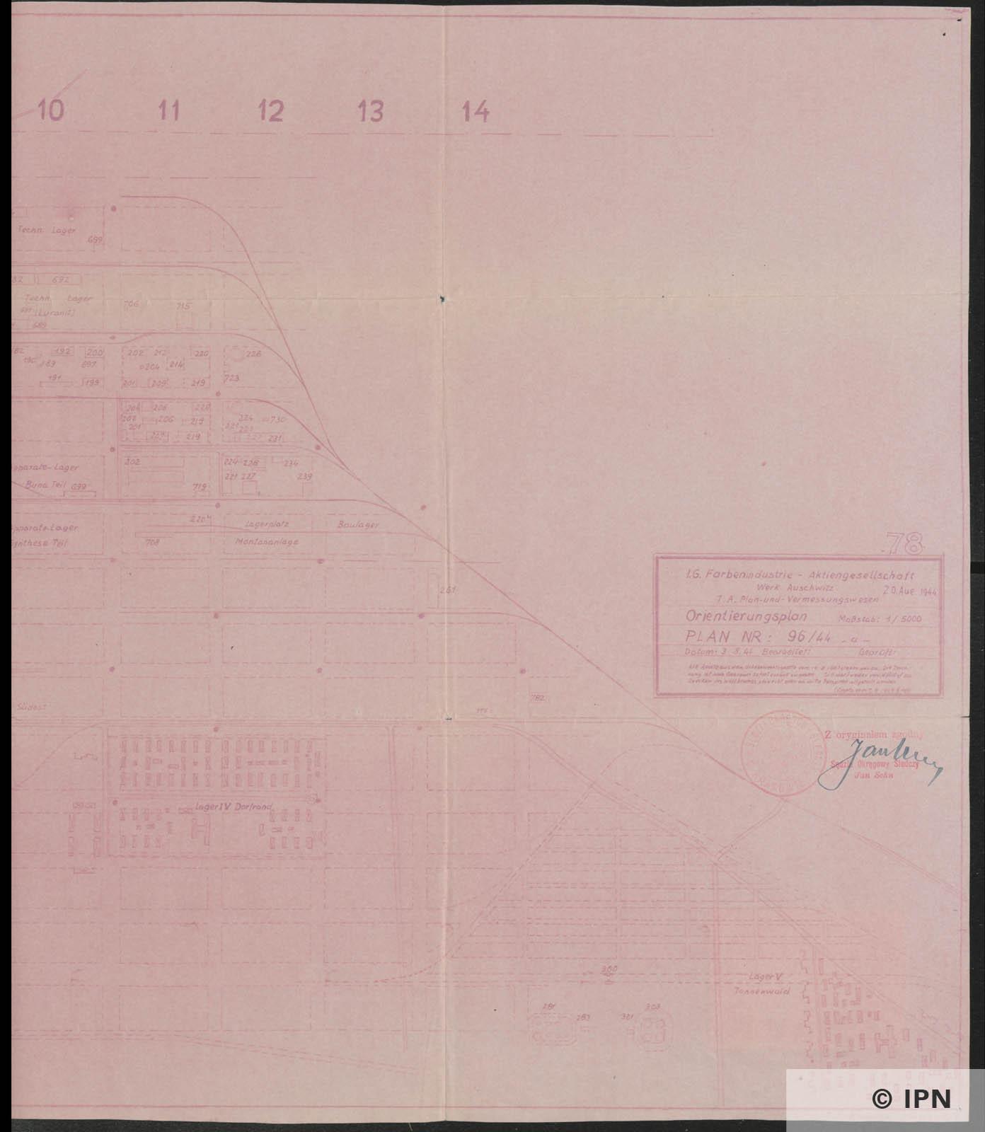 IG Farben AG Werk Auschwitz Plan. 20 August 1944 IPN GK 196 101 0042