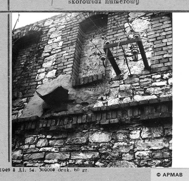 Inscription – name of prisoner Laskowski Stanisław – PKR below one of windows.1966 APMAB 10181