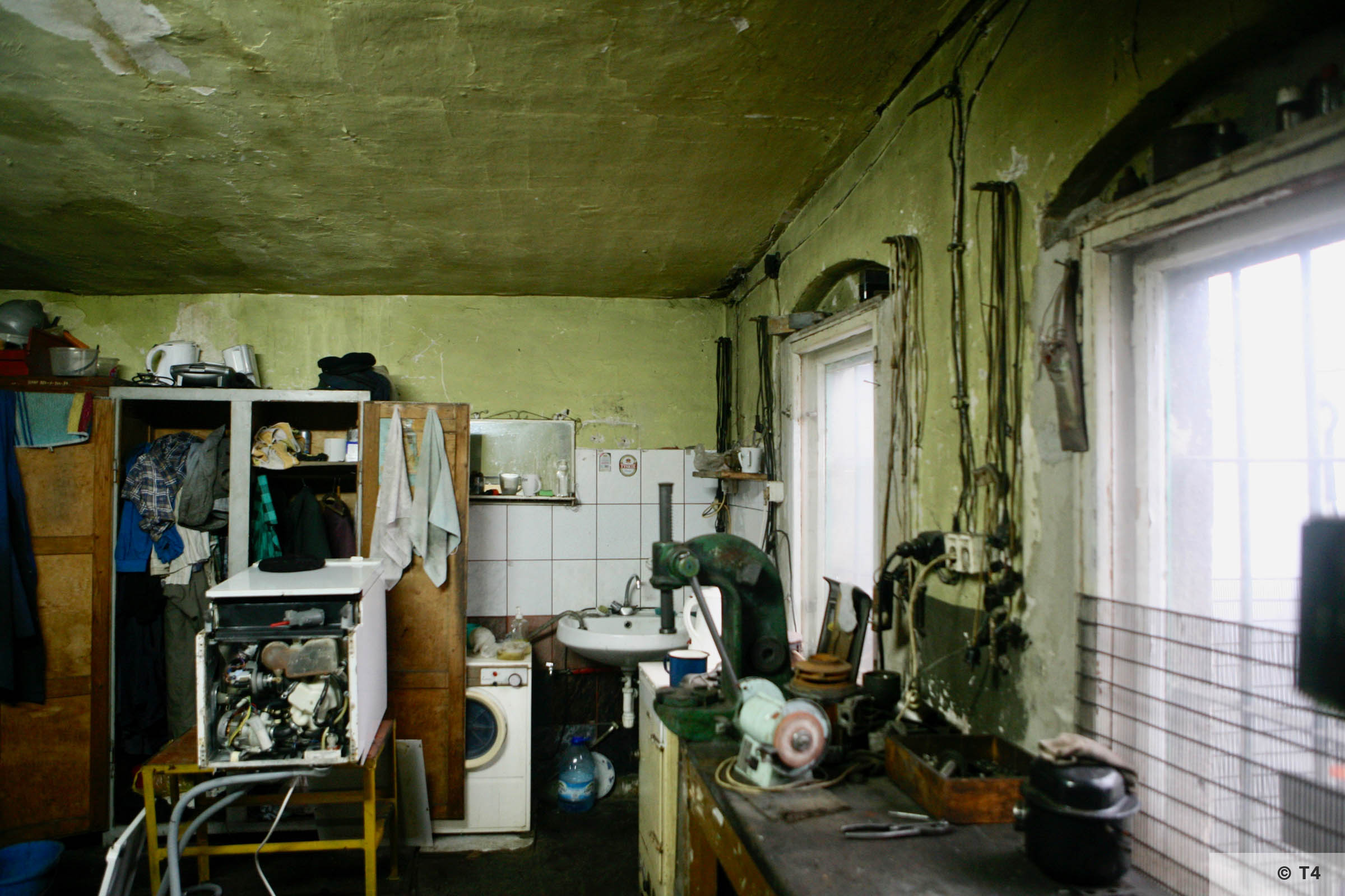 Inside the former kitchen block of sub camp Hindenburg. 2007 T4 3662