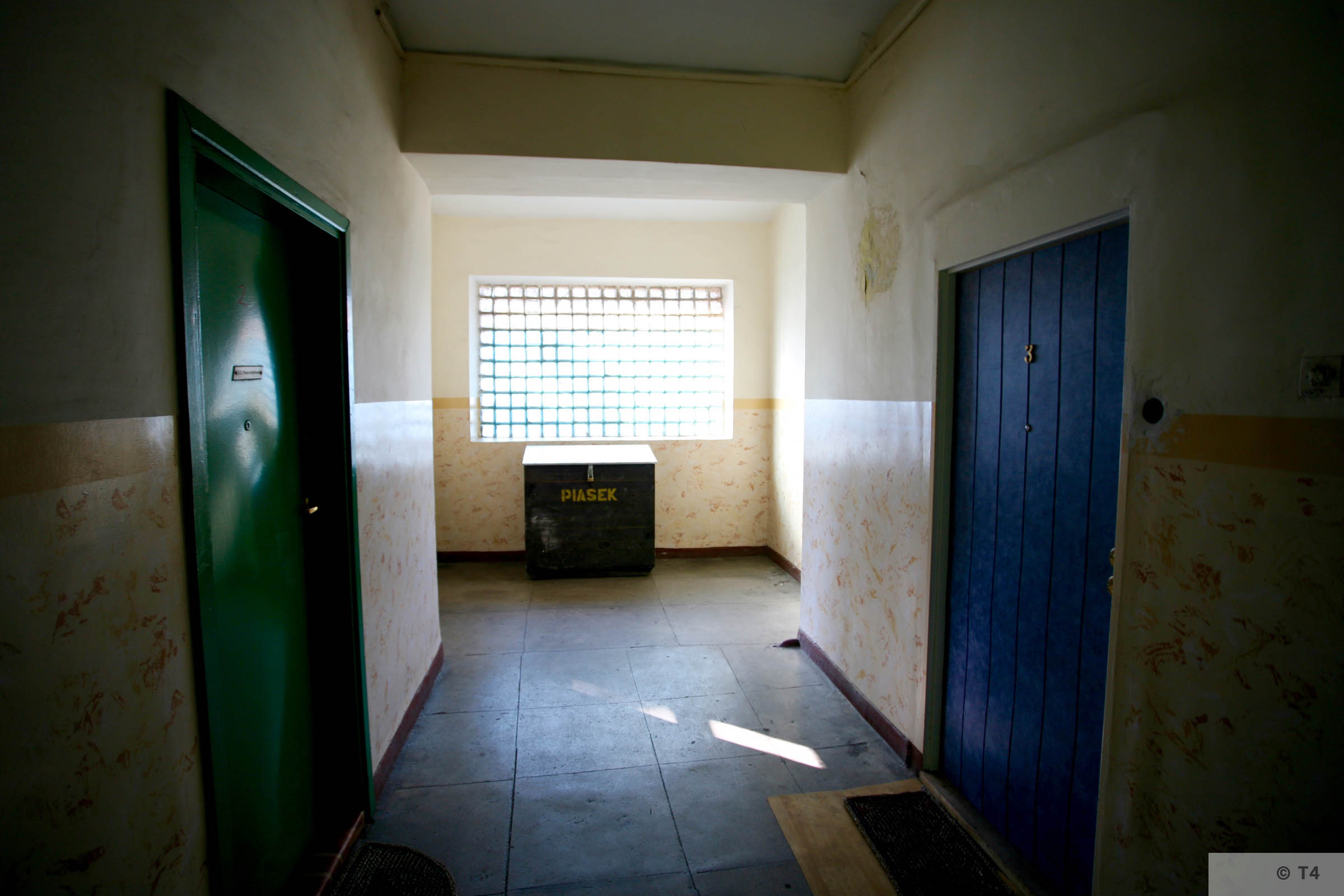 Interior of administrative building, accomodation for prisoners and prisoner cells. 2006 T4 7952