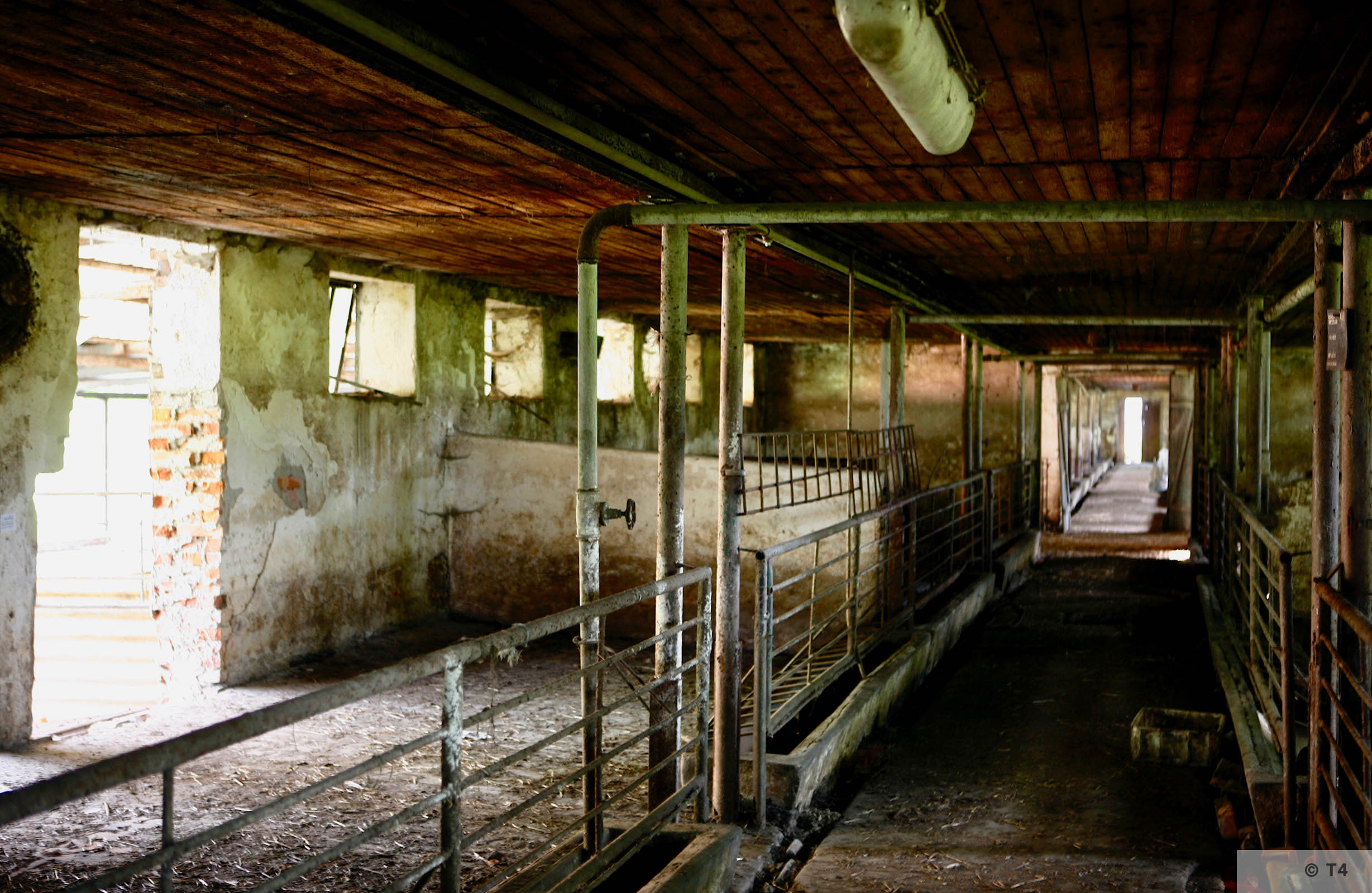 Interior of single story stable block where Kapos lived and hospital. 2006 T4 6764