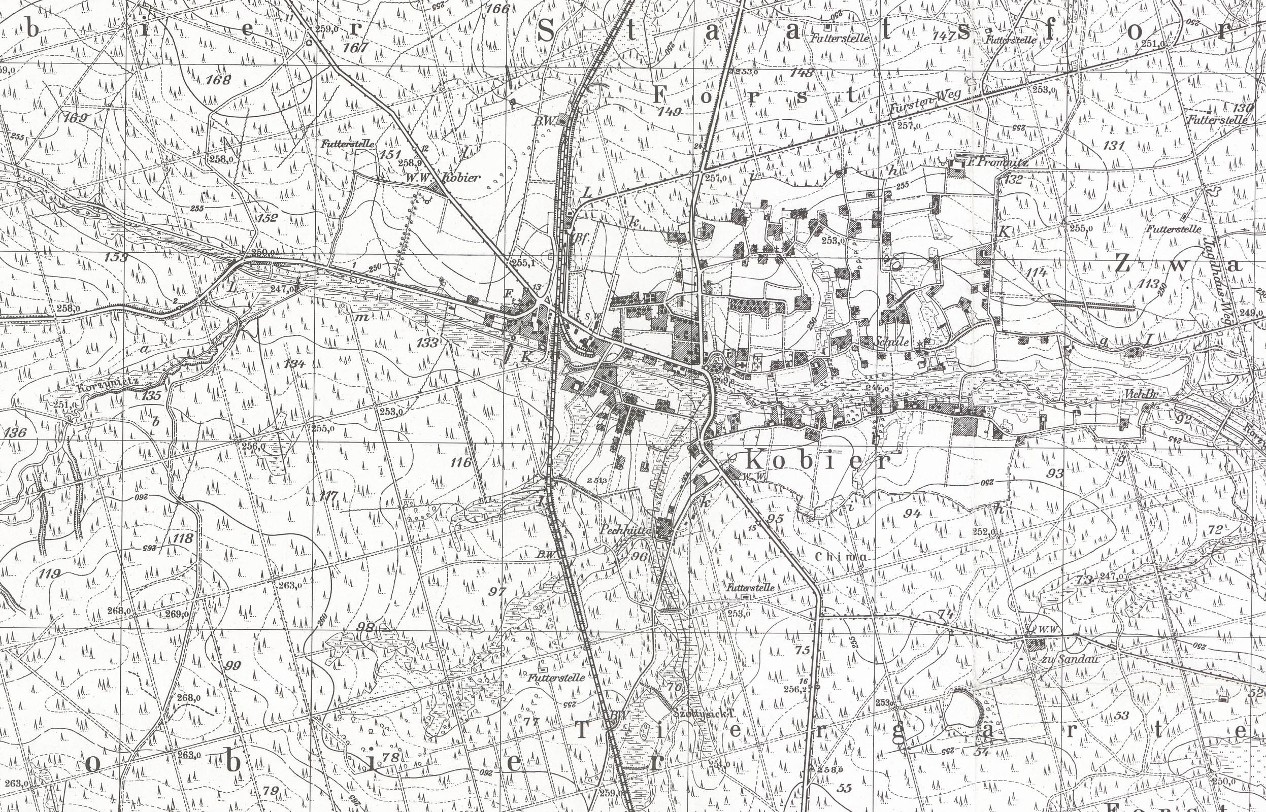 Kobior ordinance survey map 1944