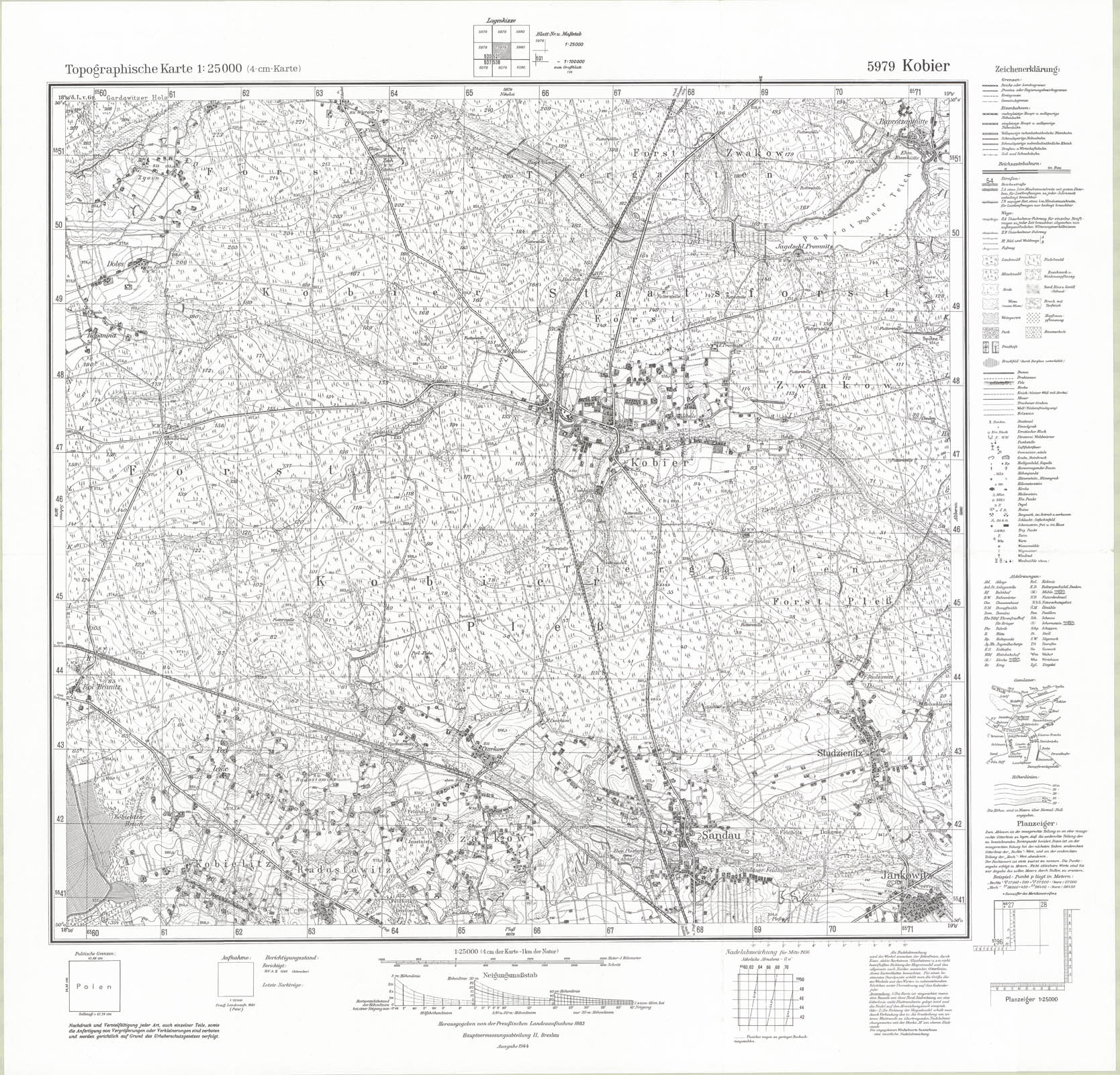 Kobior ordinance survey map 2 1944