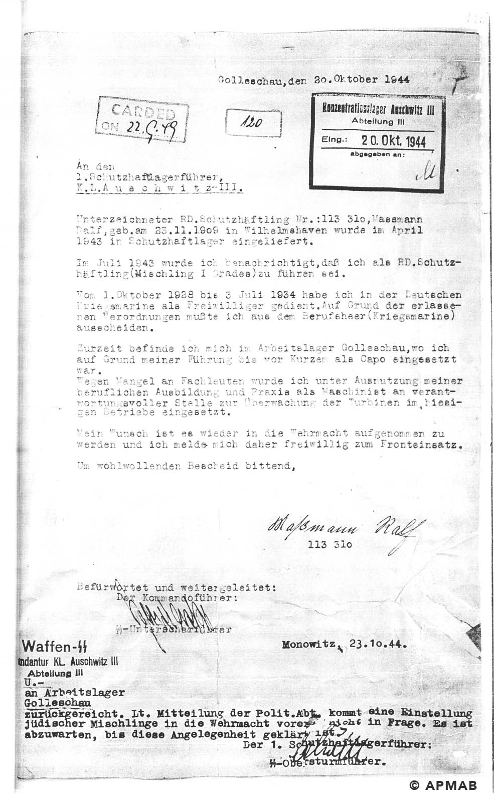 Letter from German Jewish Mischling I grade and a prisoner capo in Golleschau sub camp wishing to volunteer for the Wehrmacht APMAB nr inw. 149715 str.115