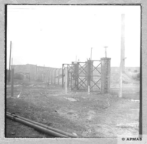 Main gate and fragment of fence in Neu Dachs. 1959 APMAB 6476