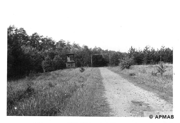Main gate. On the left guard tower and camp road. 1965 APMAB 8765