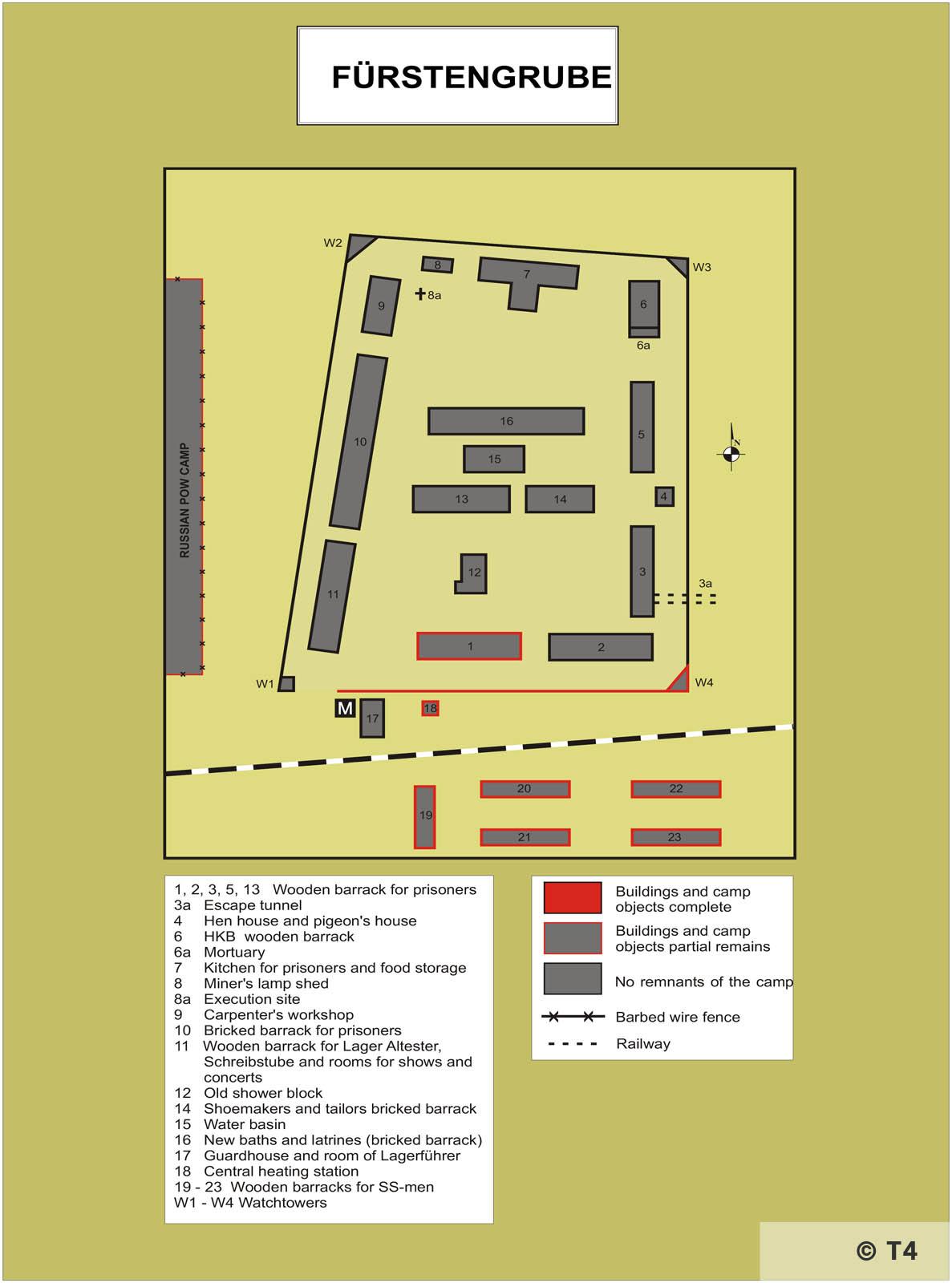 Map of Arbeitslager Fürstengrube. T4