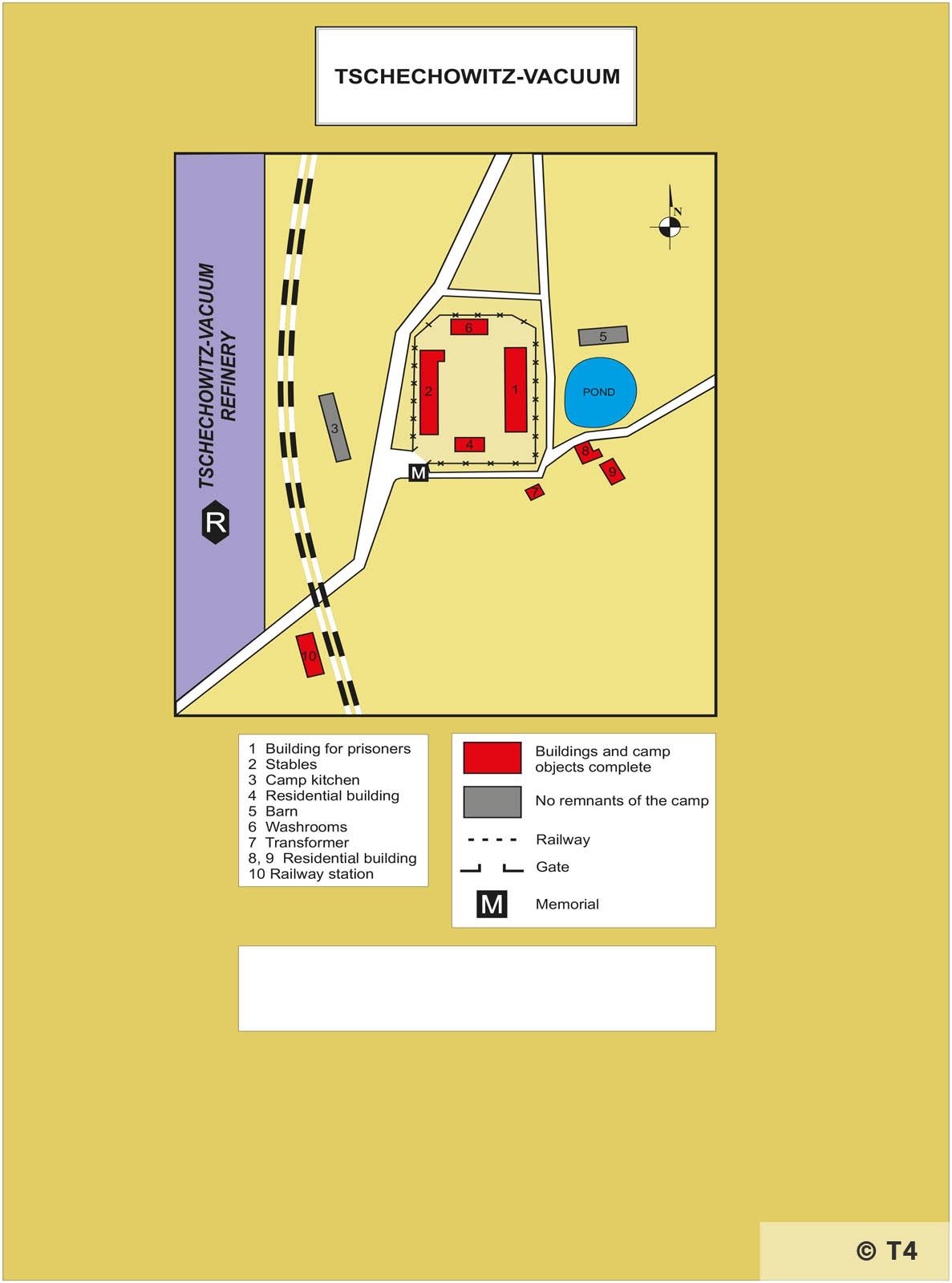 Map of Arbeitslager Tschechowitz-Vacuum. T4