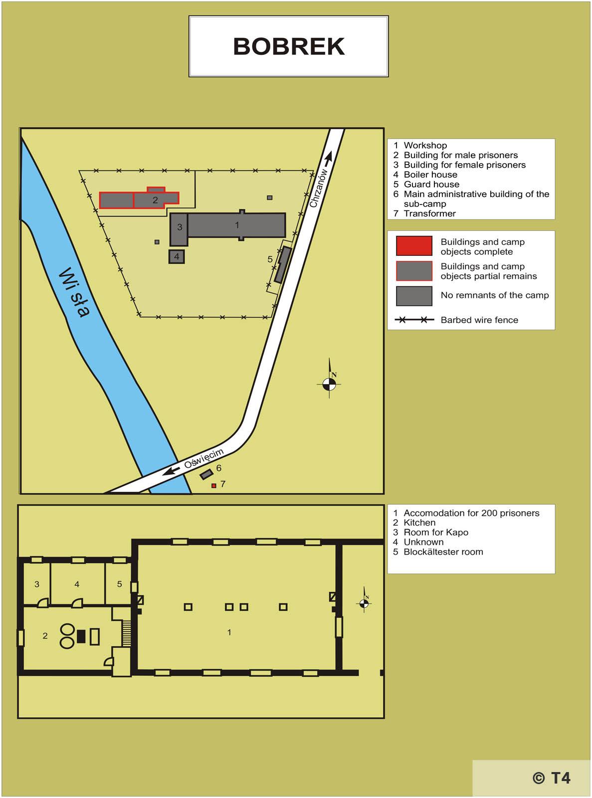 Map of Bobrek sub camp T4