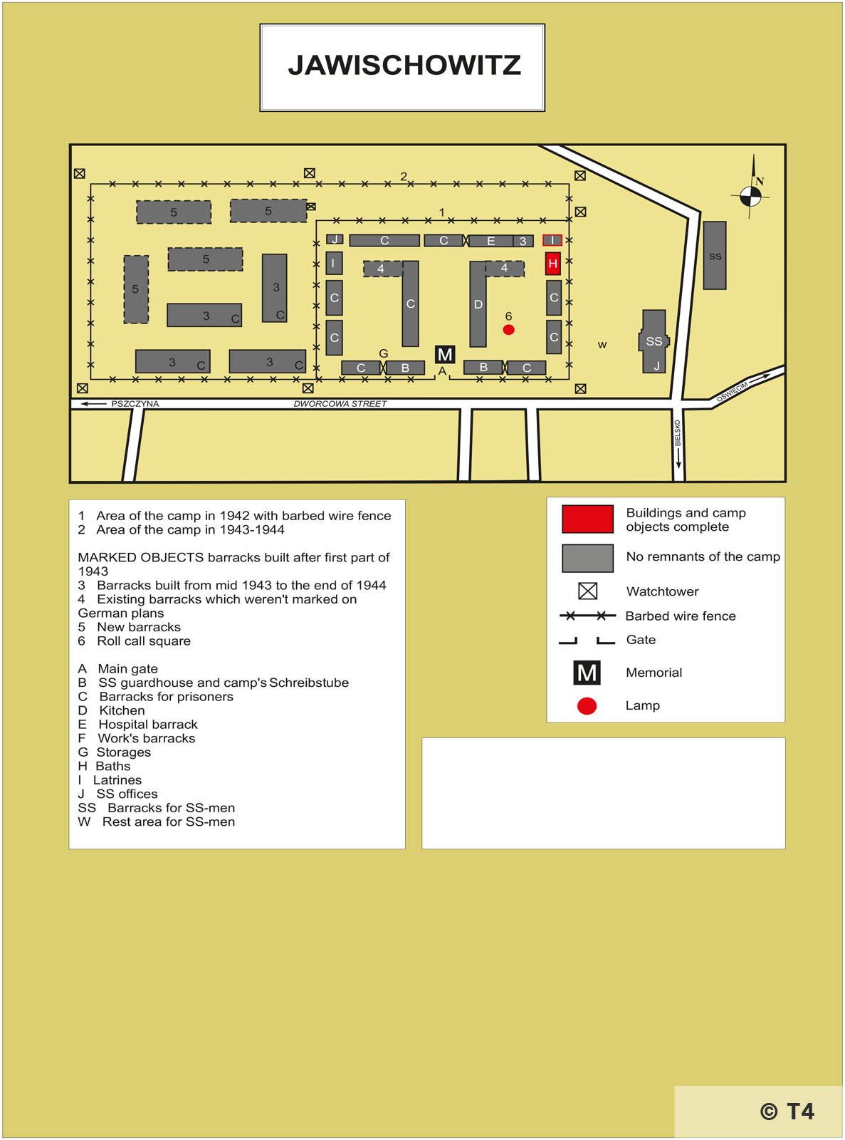 Map of Jawischowitz sub camp. T4