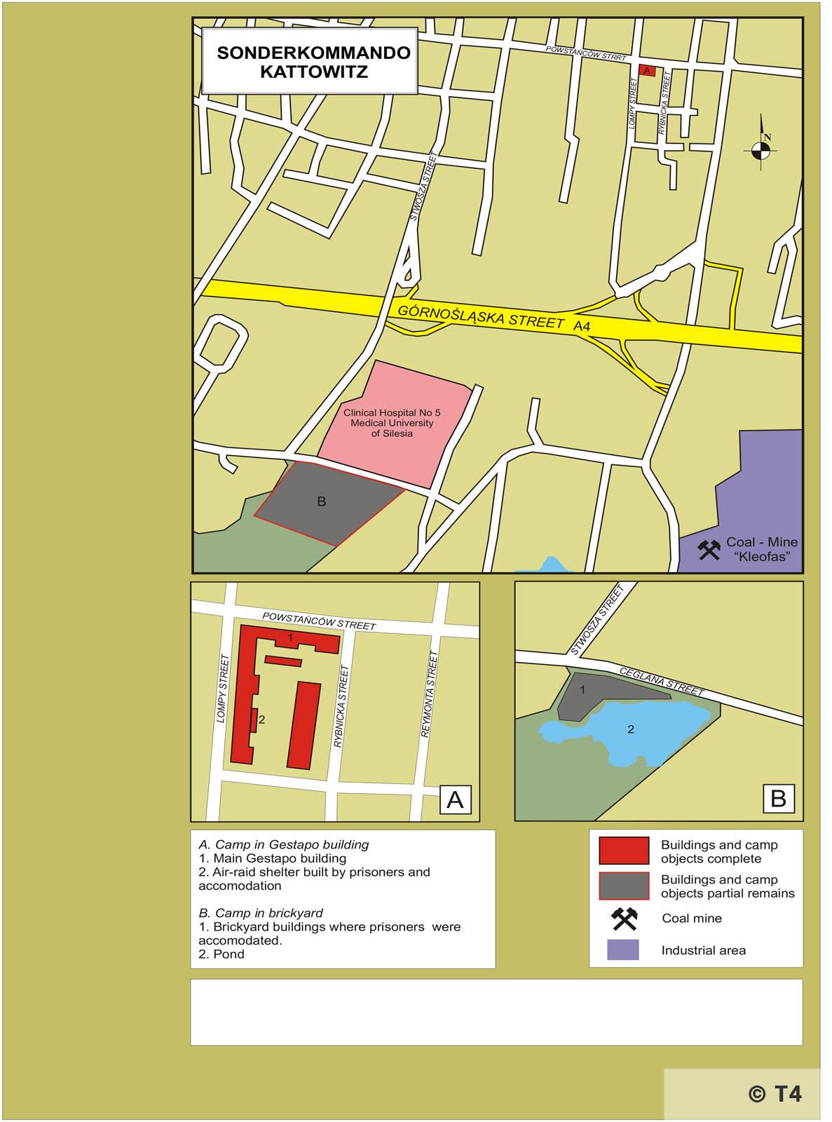 Map of Sonderkommando Kattowitz sub camp. T4