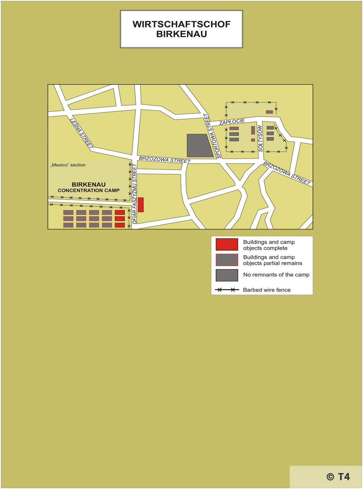 Map of Wirtschaftshof Birkenau sub camp. T4