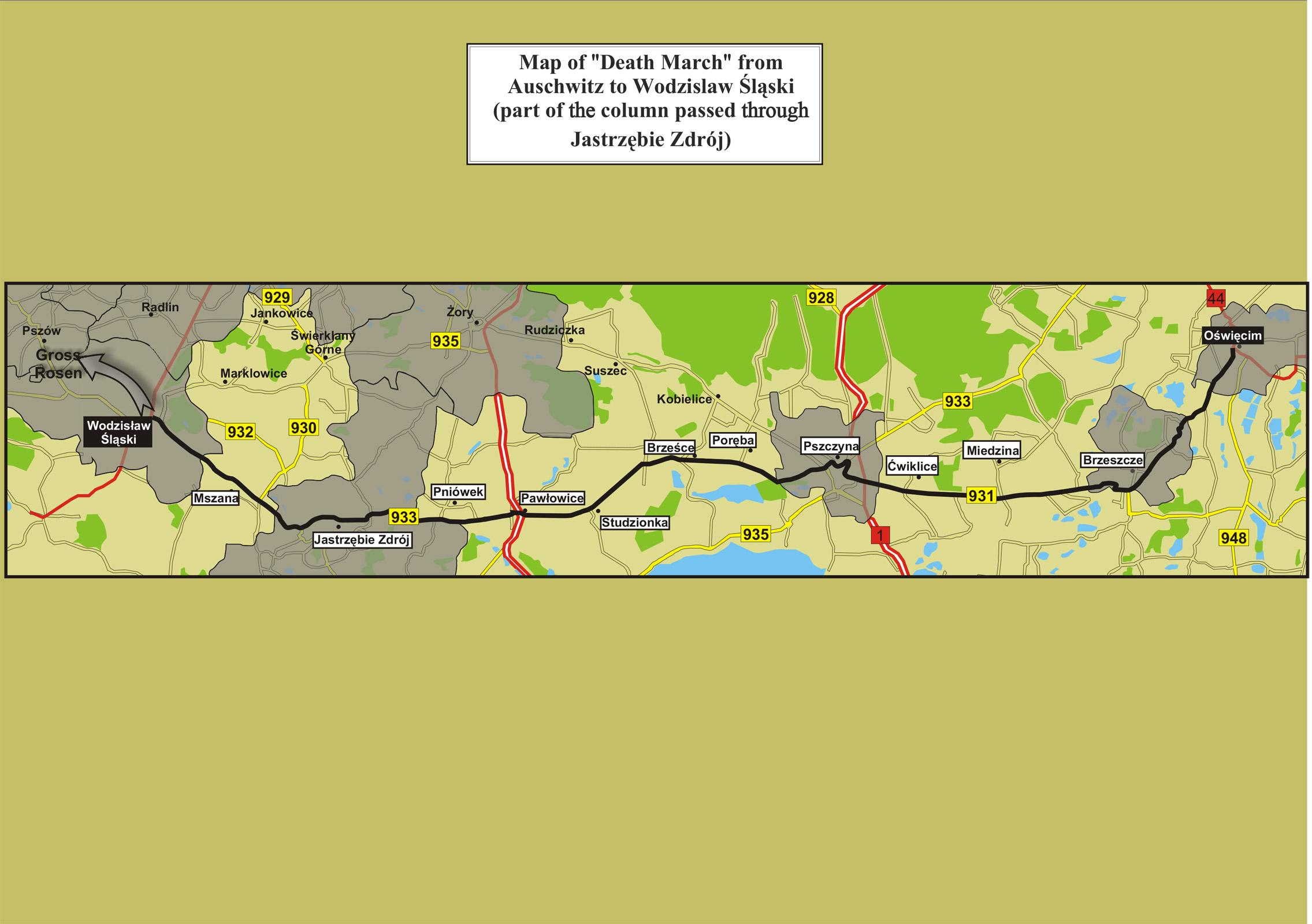 Map-of-death-march-from-Auschwitz-to-Wodzisław-Śląski-passing-through-Jastrzębie-Zdrój