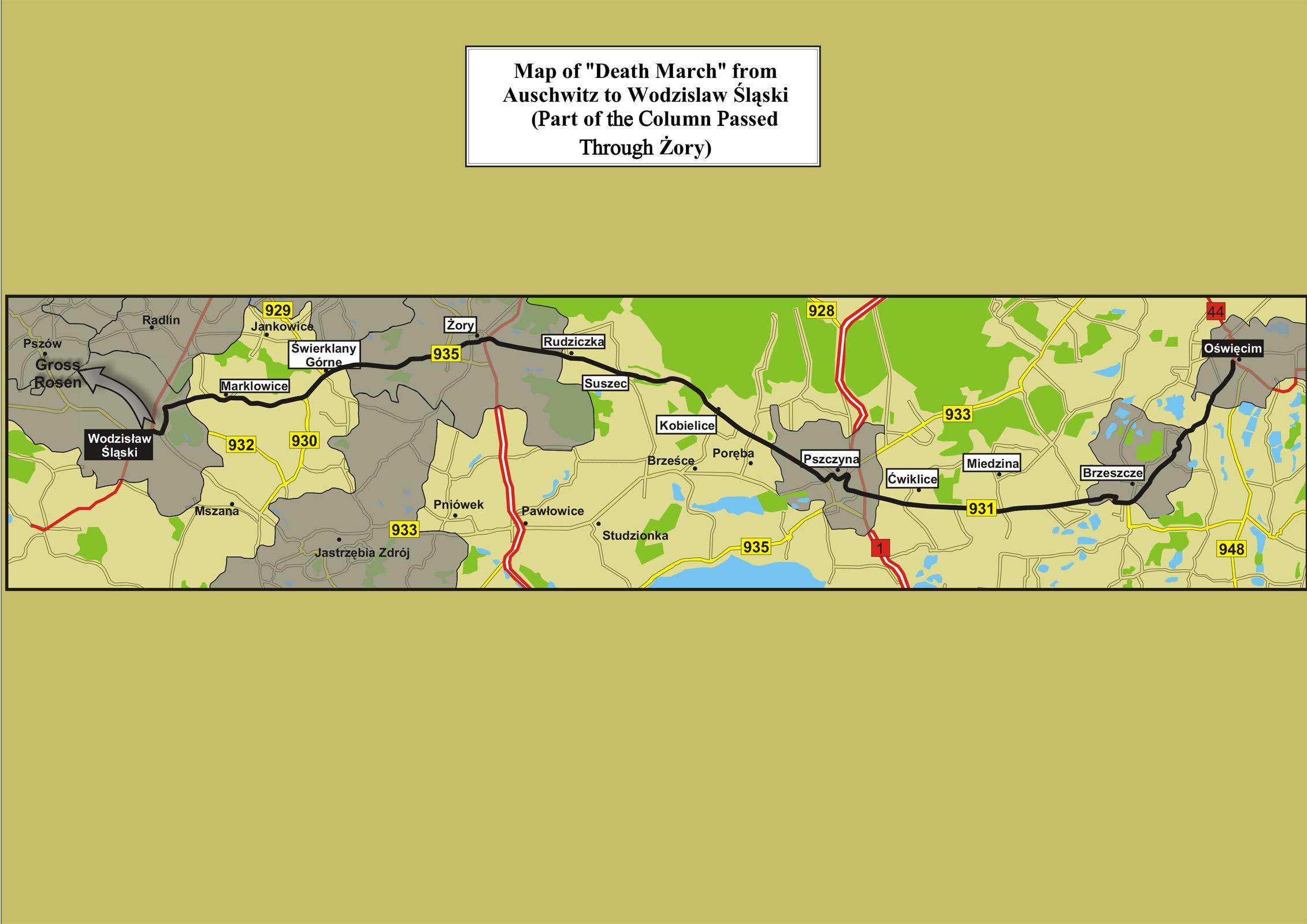 Map-of-death-march-from-Auschwitz-to-Wodzisław-Śląski-passing-through-Żory