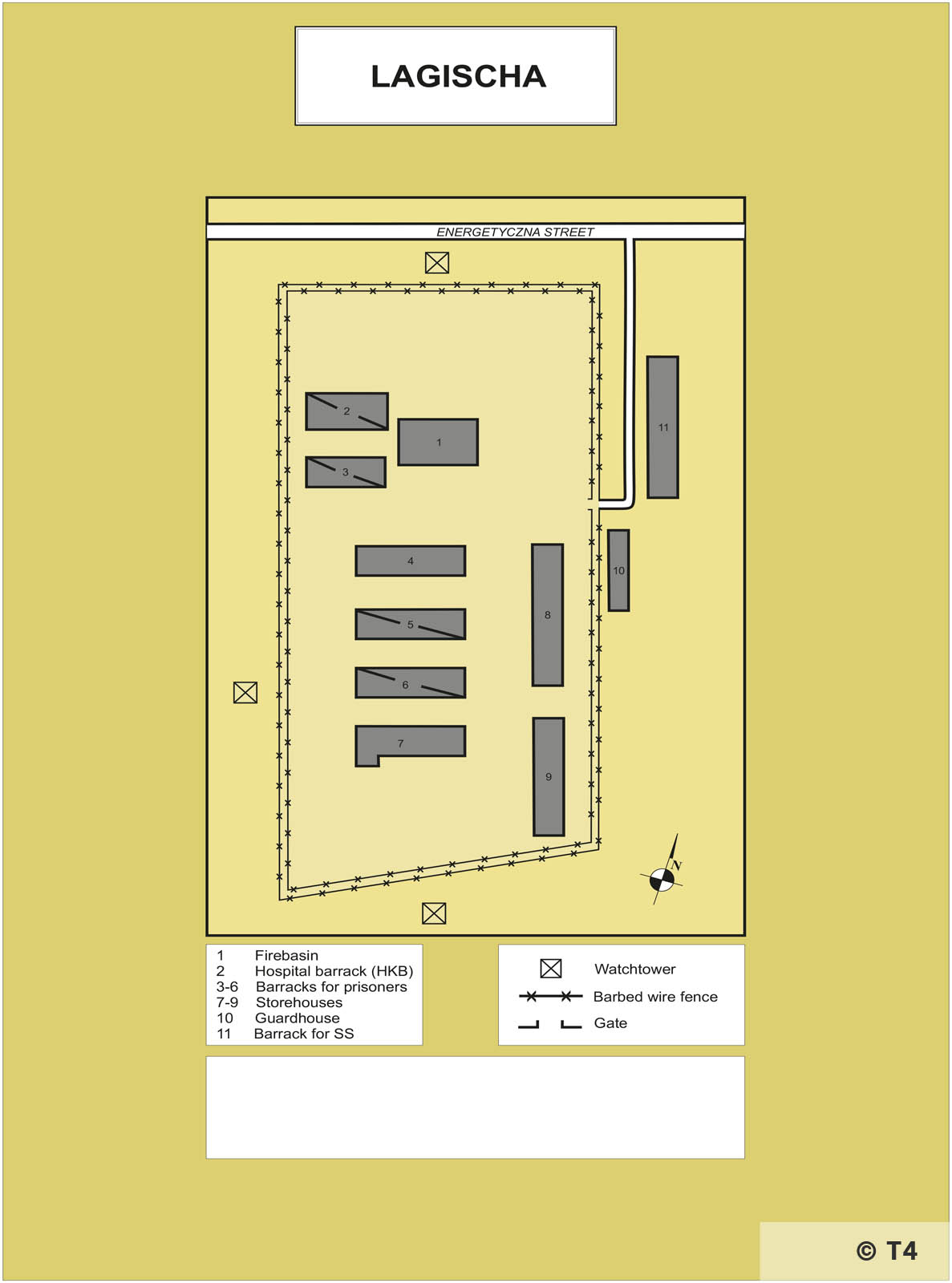 Map of former sub camp Lagischa. T4