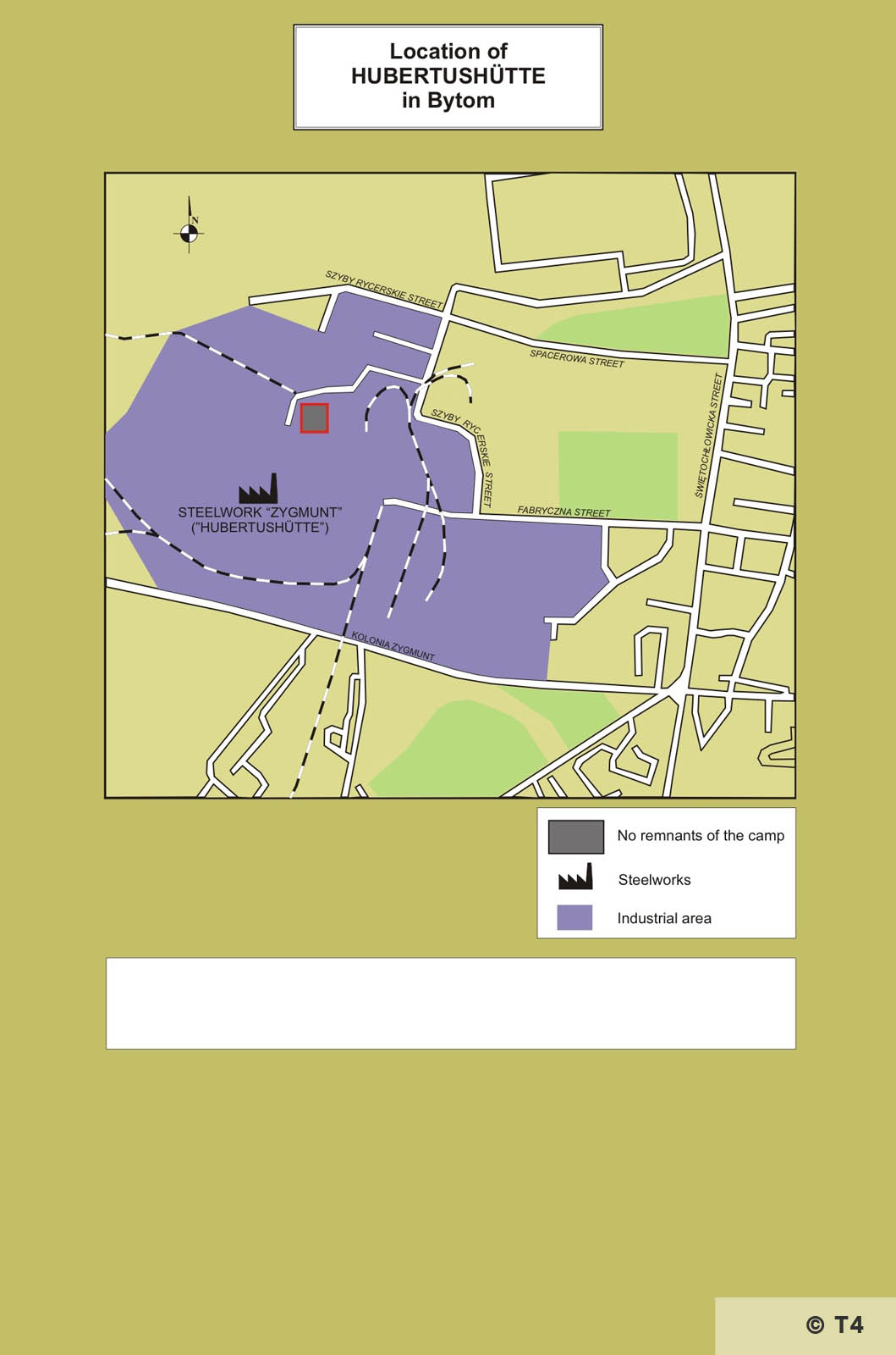 Map of location of Hubertushütte in Bytom. T4