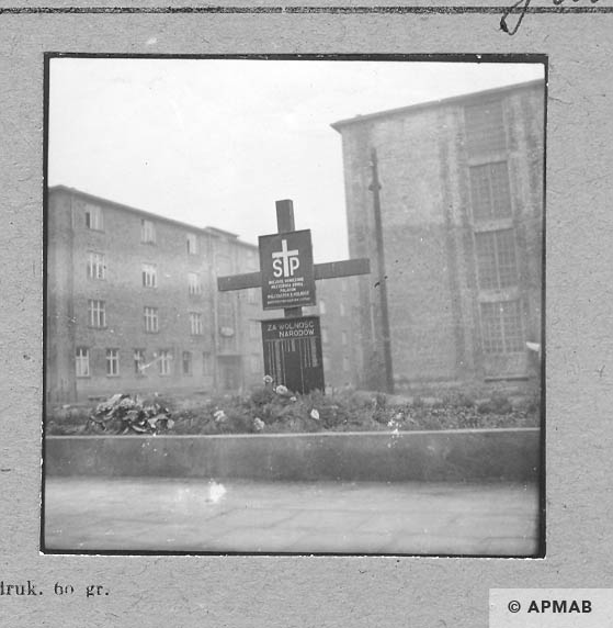 Mass grave of prisoners who died during evacuation of Neu Dachs. 1959 APMAB 6471
