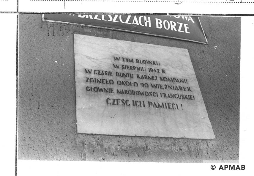 Memorial plaque of penal company for woman. 1968 APMAB 14055