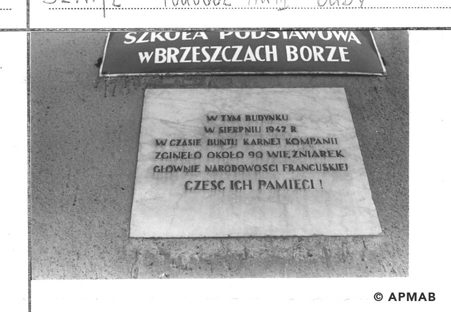 Memorial plaque of penal company for woman. 1968 APMAB 14056