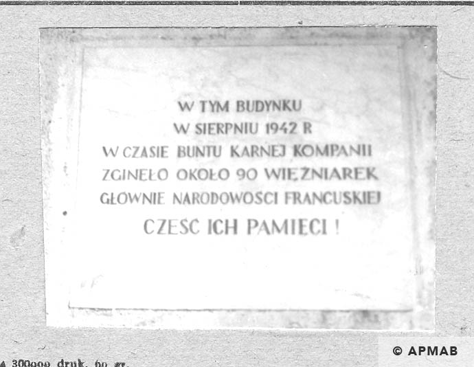 Memorial plaque on building where the penal company was accomodated. 1963 APMAB 3000