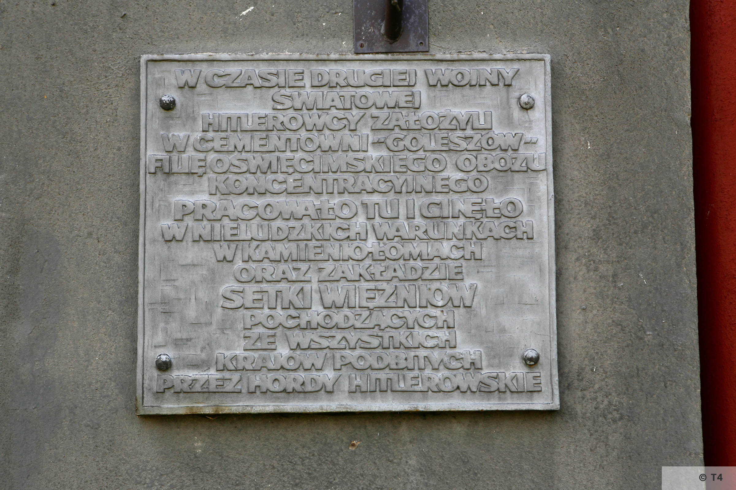 Memorial plaque to prisoners who worked in Goleszow cement works 2006 T4 6536