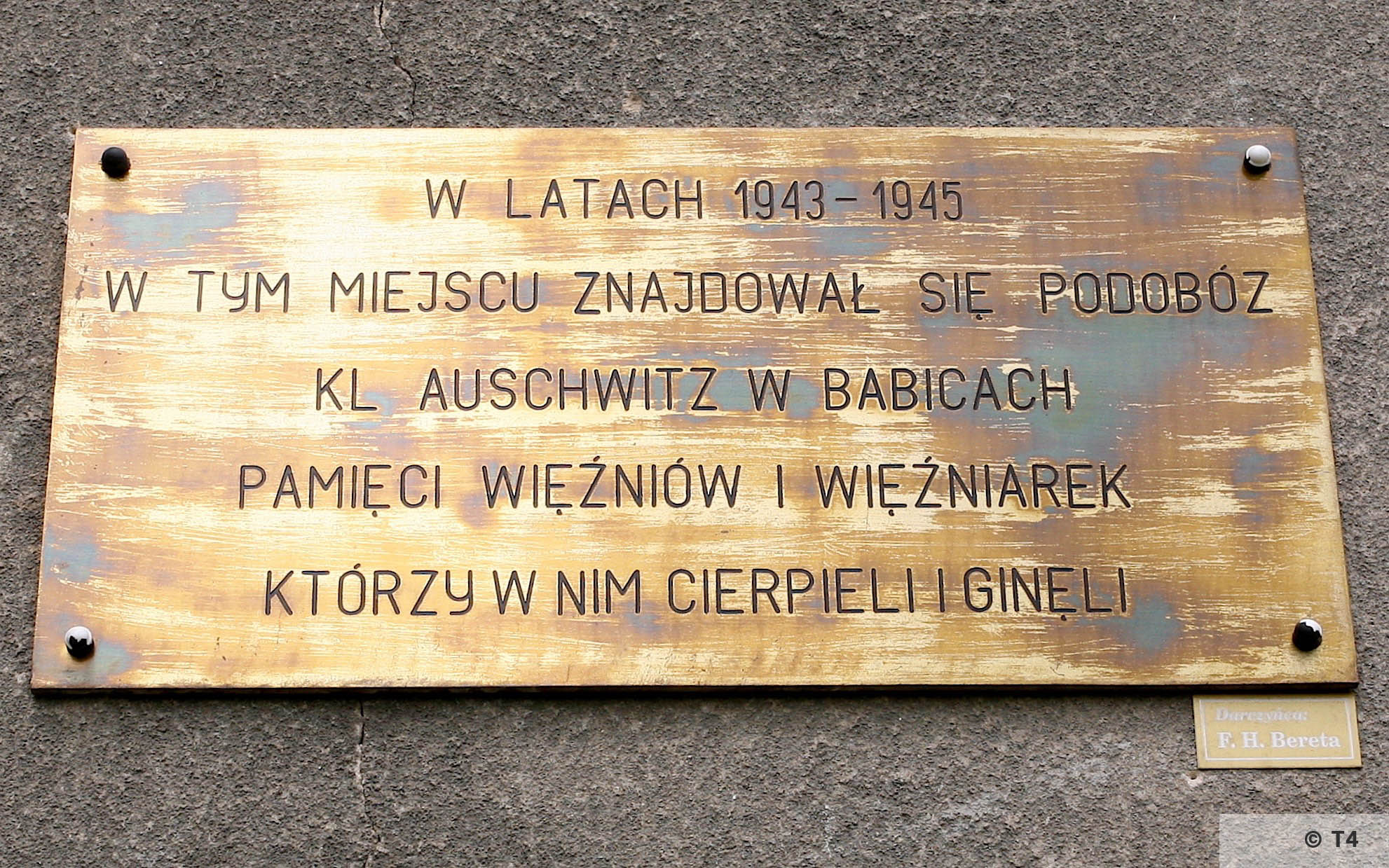 Memorial to Auschwitz sub camp on Babice School 2006. T4 4900