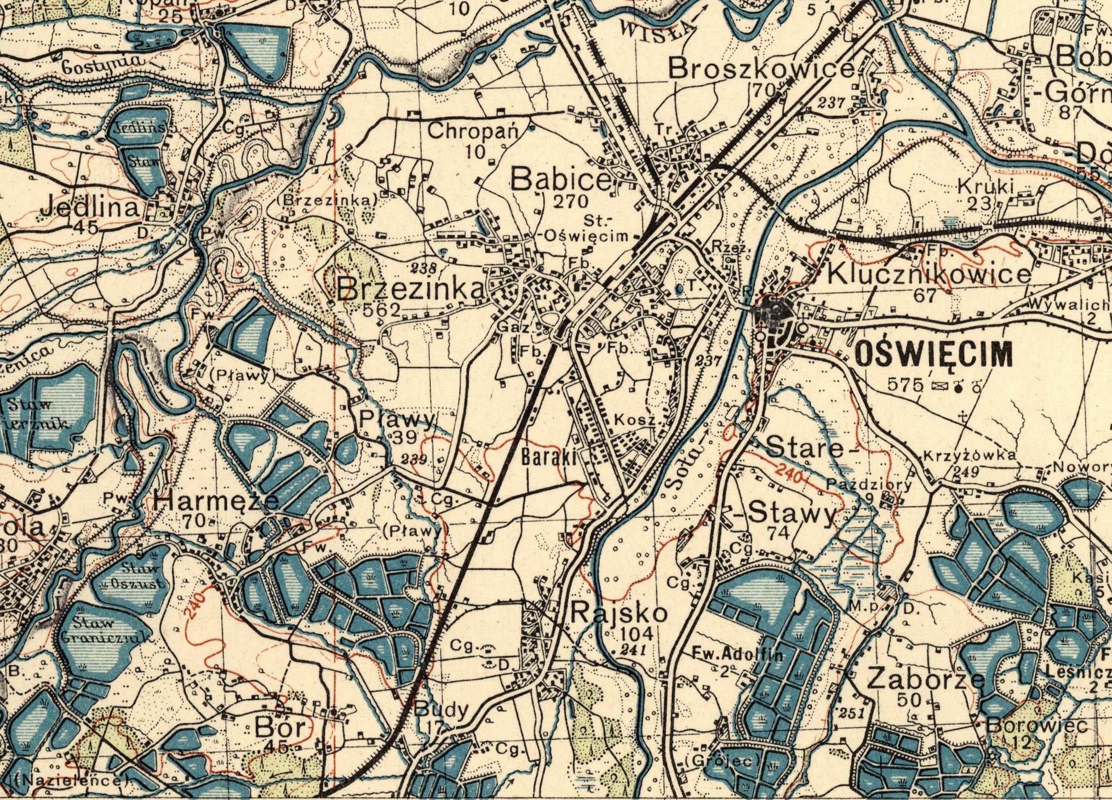 Ordinance survey map of 1933. Agricultural areas around Oswiecim Babice, Harmeze, Plawy, Rajsko, Budy