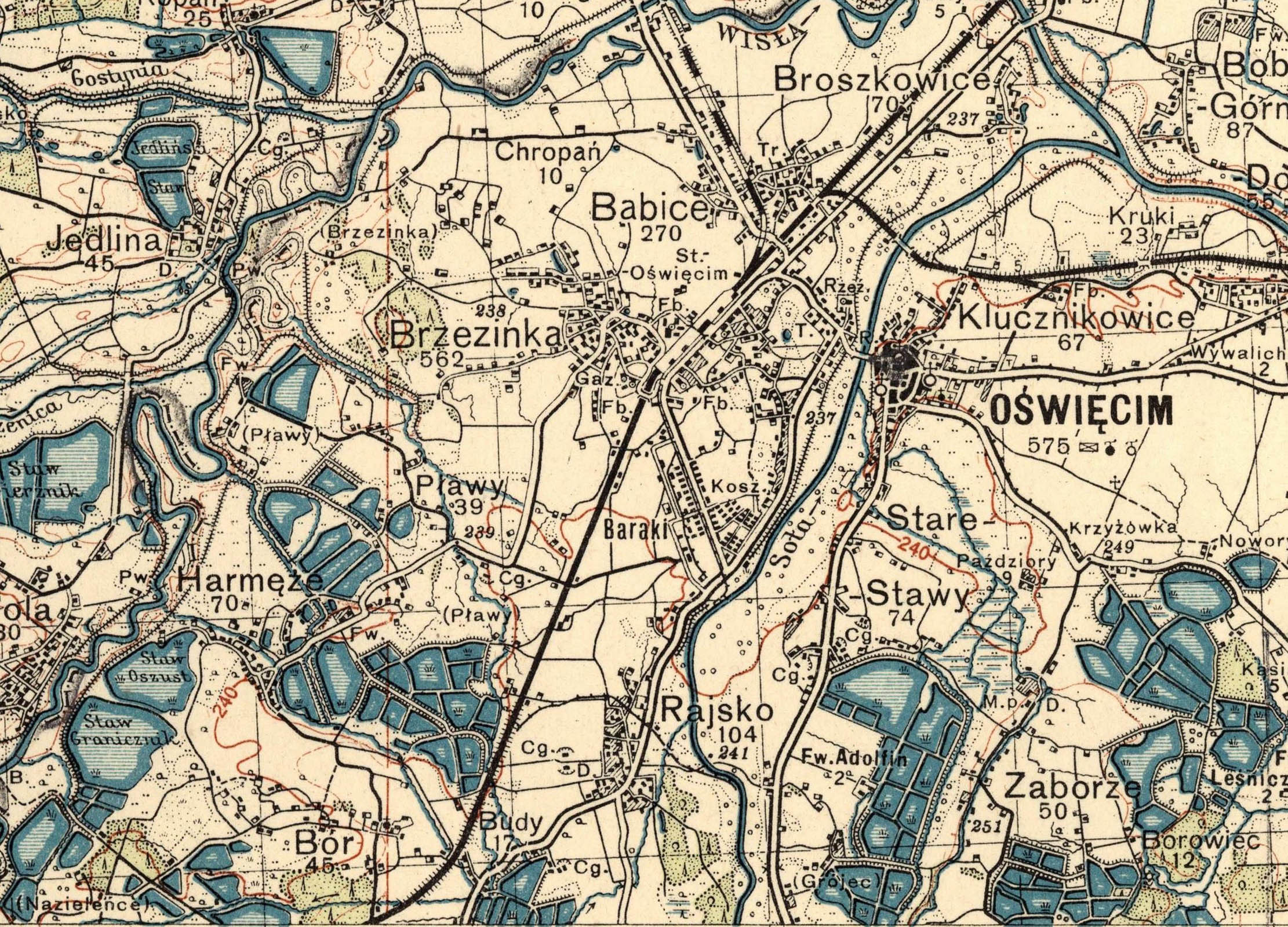 Ordinance survey map of1933. Agricultural areas around Oswiecim Babice, Harmeze, Plawy, Rajsko, Budy