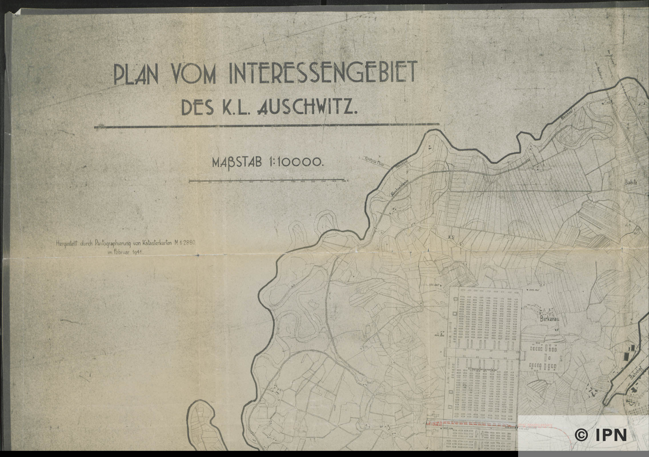 Plan vom Interessengebiet des KL Auschwitz. 15 January 1943. IPN GK 196 101 0029