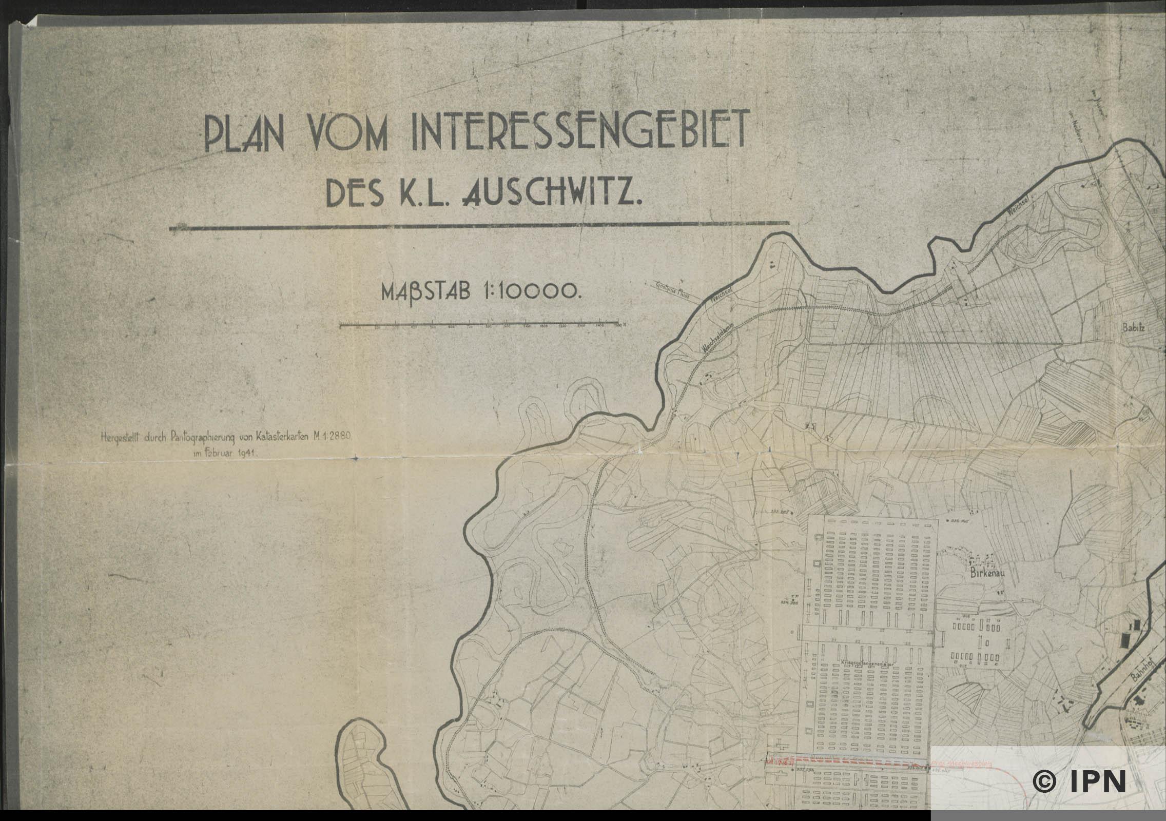 Plan vom Interessengebiet des KL Auschwitz. 15 January 1943. IPN GK 196 101 0029