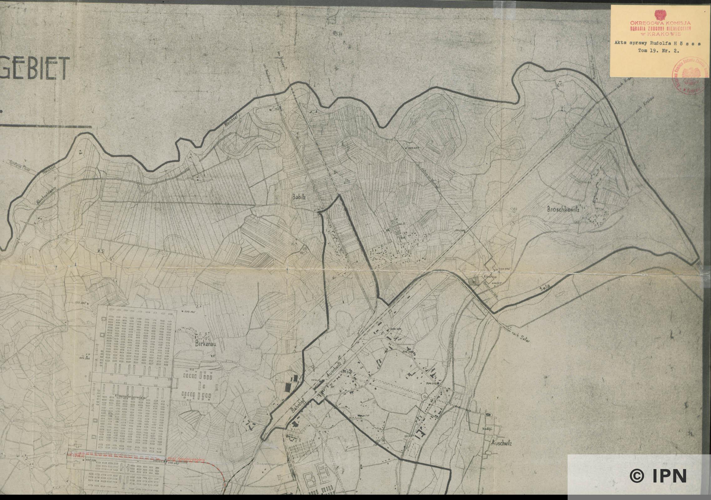 Plan vom Interessengebiet des KL Auschwitz. 15 January 1943. IPN GK 196 101 0030