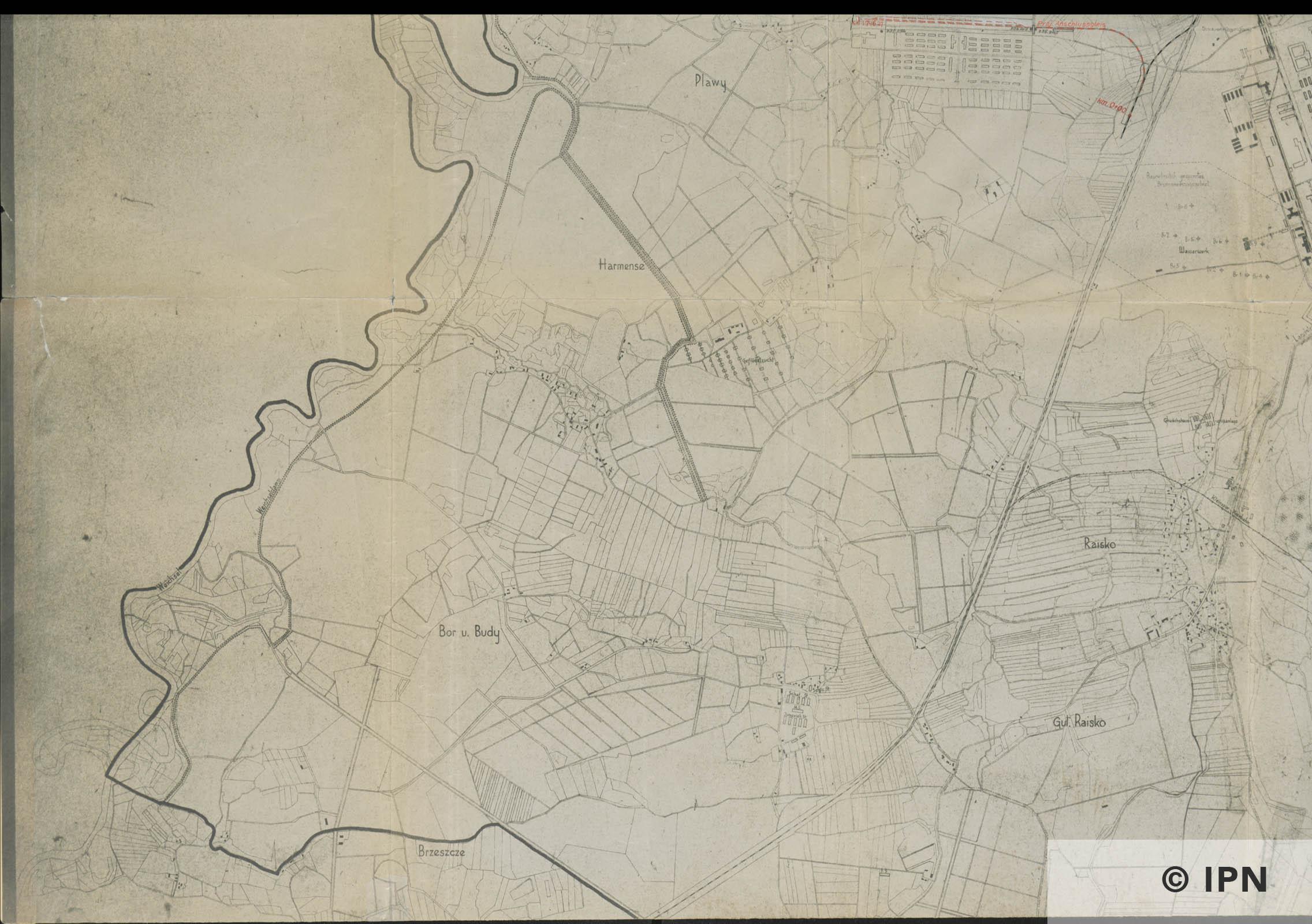 Plan vom Interessengebiet des KL Auschwitz. 15 January 1943. IPN GK 196 101 0031