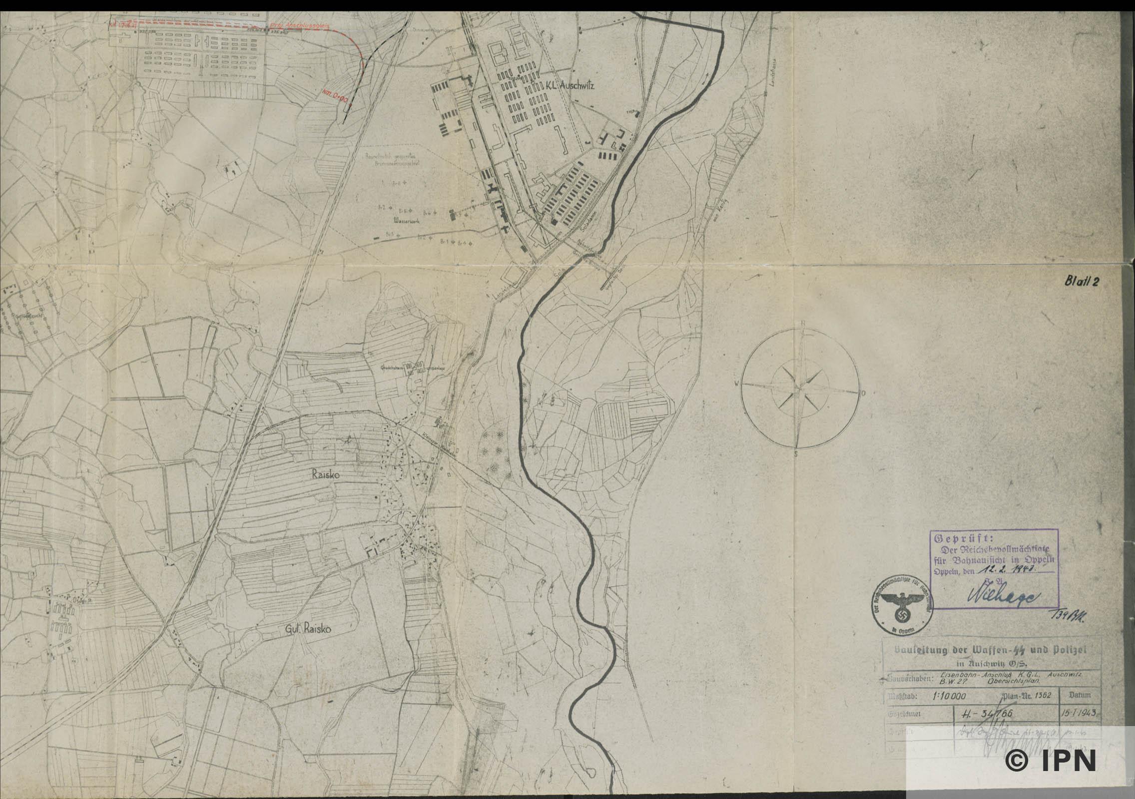 Plan vom Interessengebiet des KL Auschwitz. 15 January 1943. IPN GK 196 101 0032