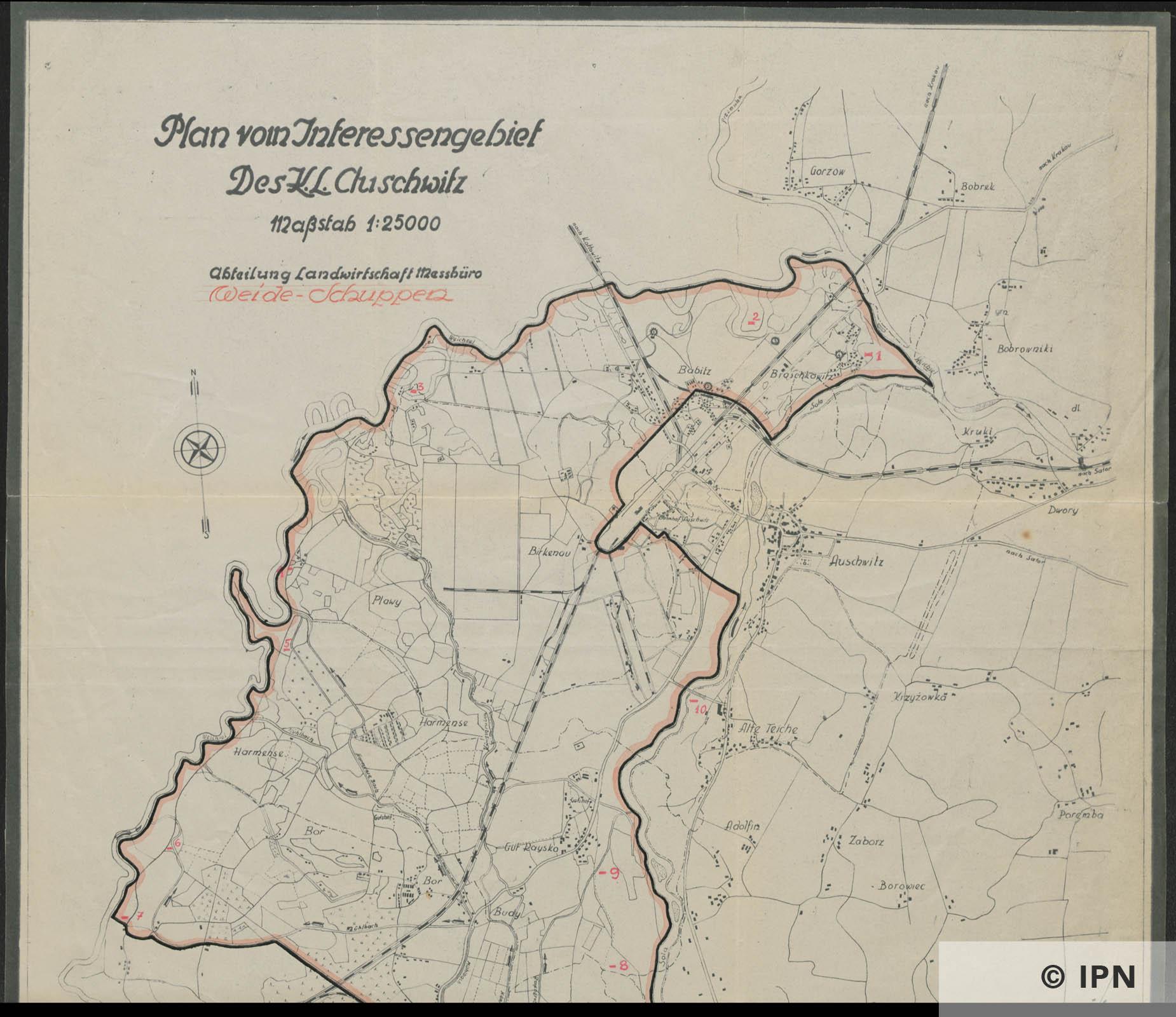 Plan vom Interessengebiet des KL Auschwitz. October 1943 . IPN GK 196 101 0036