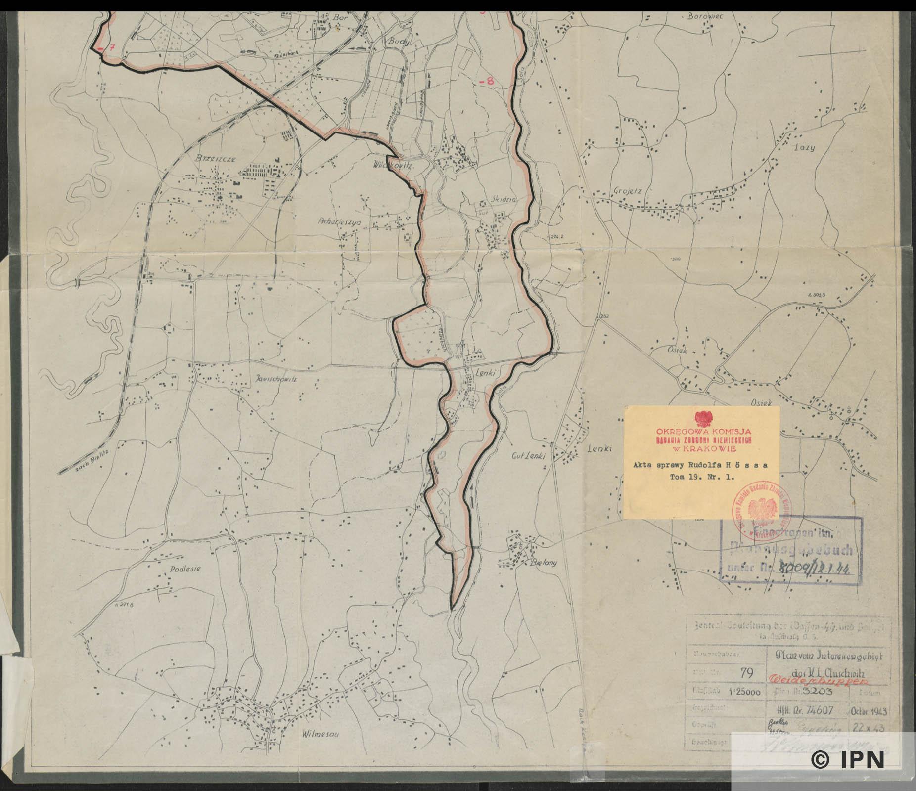 Plan vom Interessengebiet des KL Auschwitz. October 1943 . IPN GK 196 101 0037