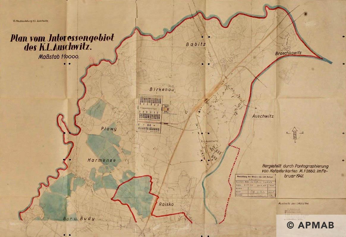 Plan vom Interessengebiet des Kl Auschwitz. February 1941 APMAB
