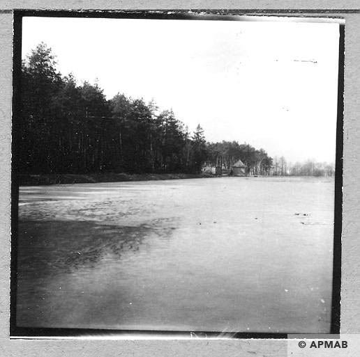 Pond in Chełmek where prisoners worked. Pump station for Bata factory. 1959 APMAB 4401