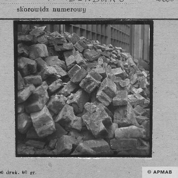 Prefabricated elements produced by prisoners in the subcamp. APMAB 1959 4405