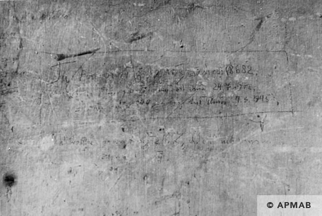 Prisoner Inscription on the kitchen wall by prisoner number 18682. 1970 APMAB 20816 19