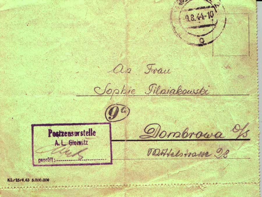 Prisoner letter Gleiiwitz IV 1a