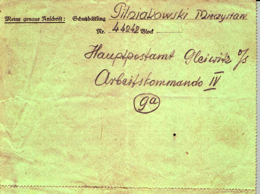 Prisoner letter Gleiwitz IV 1b