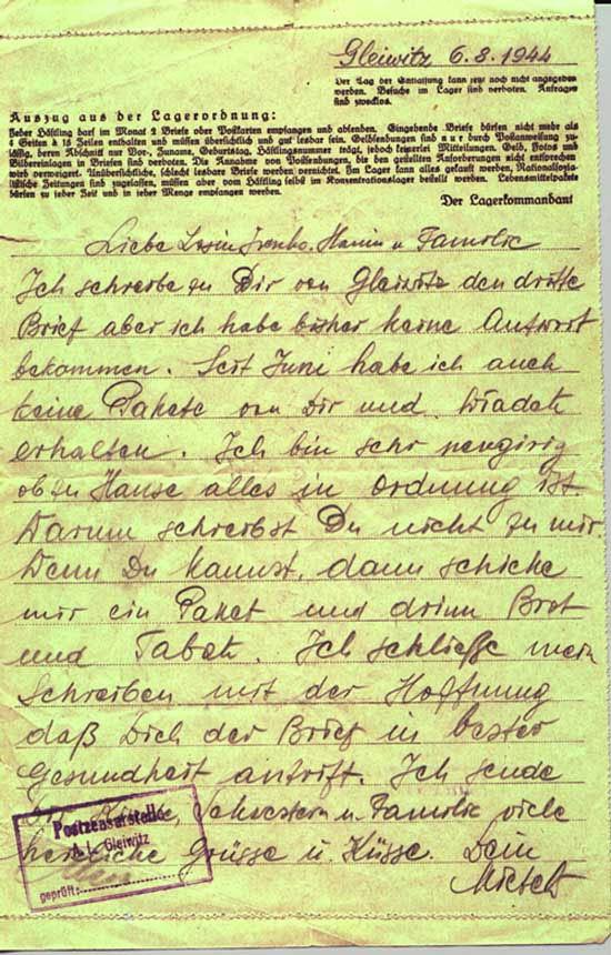 Prisoner letter Gleiwitz IV 1c