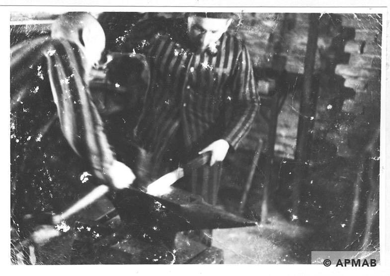 Prisoners possibly Jan Hyla and Wojcik at work in Brünn sub camp. 1944 APMAB 19142