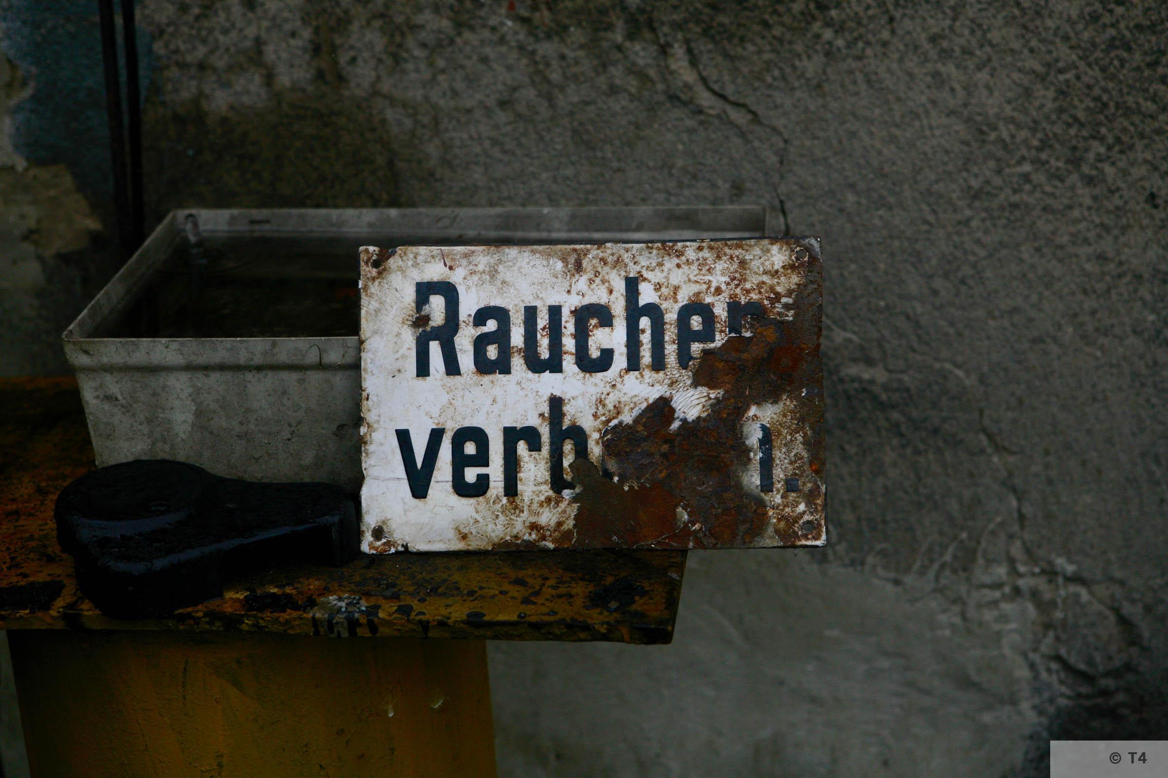 Rauchen verboten sign on the former sub camp kitchen block. 2007 T4 3679