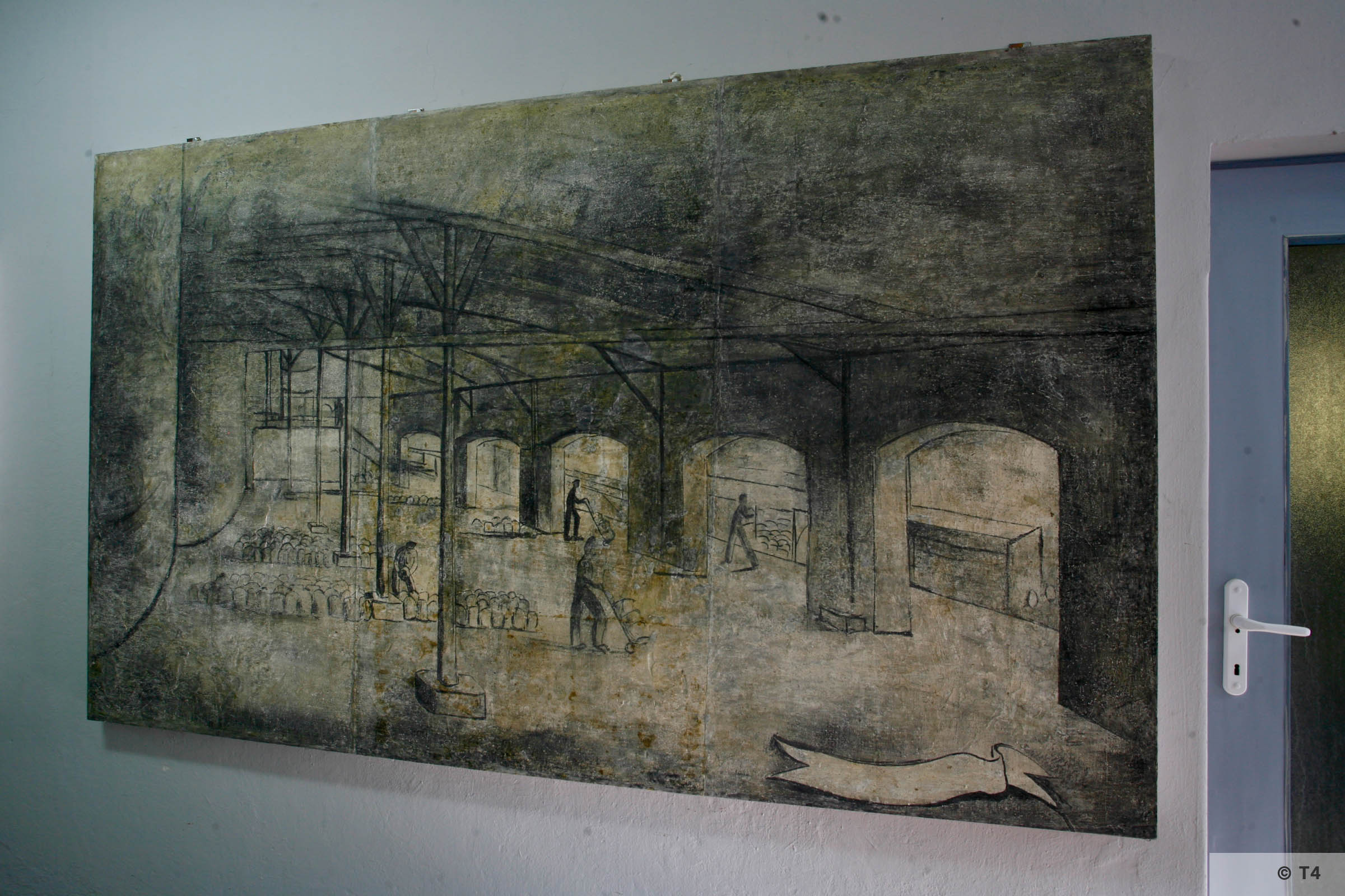 Recovered frescos in Auschwitz Birkenau State Museum. 2006 T4 3685